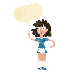Cartoon worried maid with speech bubble vector