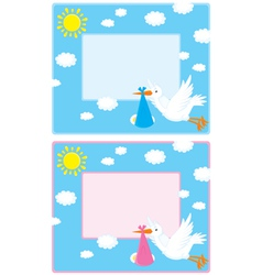 Border with a stork and newborn child vector