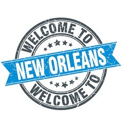 Welcome to new orleans blue round vintage stamp vector