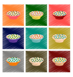 Assembly flat shading style icon salad plate vector