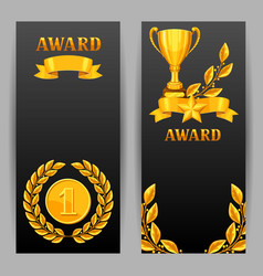 banners with realistic gold awards backgrounds vector image vector image
