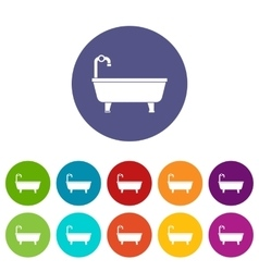 Bathtub set icons vector image