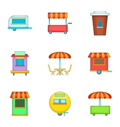 Cafe on wheels icons set cartoon style vector image