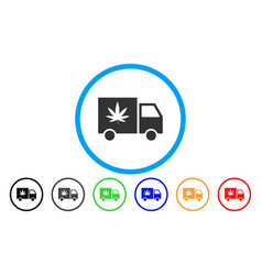 cannabis delivery van rounded icon vector image