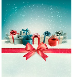 Christmas background with a bow and presents vector image vector image