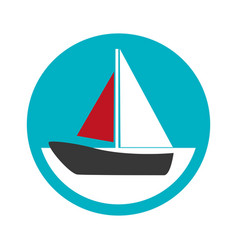 Color circular frame with sailing boat vector