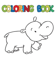 Coloring book of little funny hippo vector image