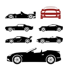Detailed sportcars silhouettes set vector