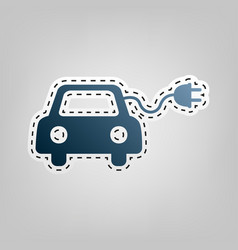 Eco electric car sign blue icon with vector
