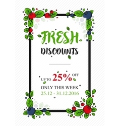 Fresh discounts percent off banner vector