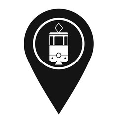 Geo tag with tram sign icon simple style vector