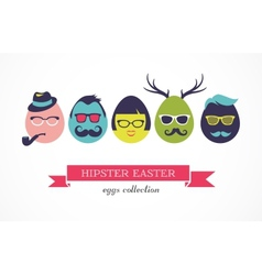 Happy Hipster Easter - set of stylish eggs icons vector image vector image