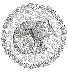 High detail of sleeping cat vector