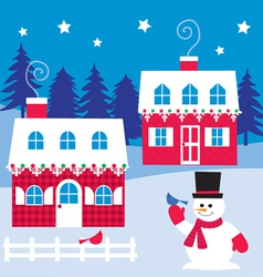 Houses and snowman vector