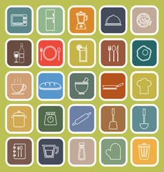 Kitchen line flat icons on green background vector