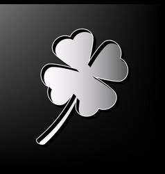 Leaf clover sign gray 3d printed icon on vector