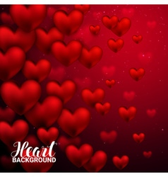 Love romantic 3d realistic red hearts background vector
