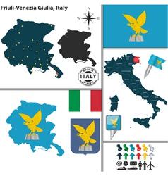 Map of Friuli Venezia Giulia vector image vector image
