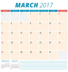 March 2017 calendar planner for 2017 year week vector