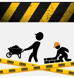 Men builder wheelbarrow brick wall tape vector