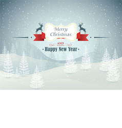 Merry Christmas and Happy New Year forest winter l vector image