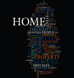Mistakes in home safety text background word vector