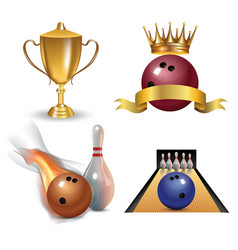 realistic bowling icon set isolated on white vector image vector image