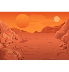 Red planet mars in space space landscape vector