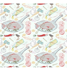 Seamless Background with taste Fish dish vector image vector image