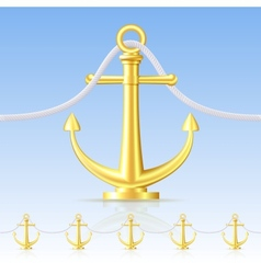 Seamless fence featuring an gold anchor vector image vector image