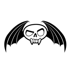 skull with wings three vector image vector image