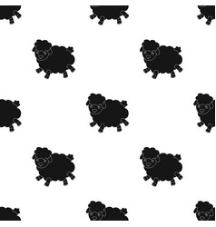 toy sheep icon in black style isolated on white vector image
