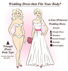 Woman in underwear and a-line wedding dress vector