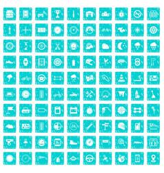 100 motorsport icons set grunge blue vector