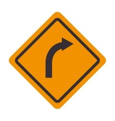 Signal traffic turn right yellow vector