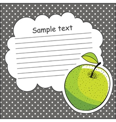 Card with green apple and message cloud vector