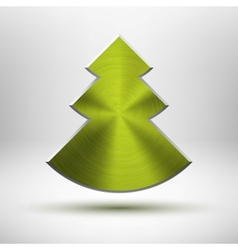 Tecnology Christmas tree icon with metal texture vector image