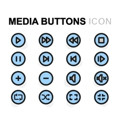 Flat media buttons icons set vector