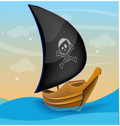 Sail boat with pirate symbol on a sunset vector