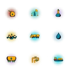 Oil production icons set pop-art style vector