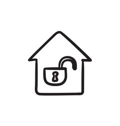 House with open lock sketch icon vector