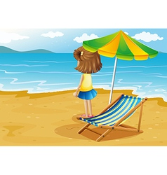 A girl at the beach with a foldable chair and an vector