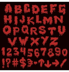 Red font smudges alphabet splashing vector