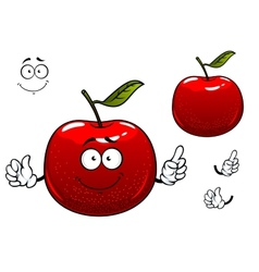 Red crunchy apple fruit cartoon character vector