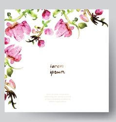 Watercolor template with pink flowers vector image