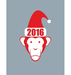 Monkey hat santa claus symbol of 2016 new year on vector