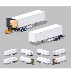 Large white cargo trailer loading or unloading vector