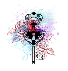 Key with roses vector