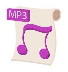 Mp3 audio file extension icon cartoon style vector