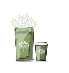 Bag packaging and take away coffee cup vector